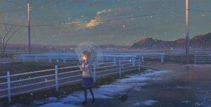 Rating: Safe Score: 35 Tags: feel_(nasitaki) landscape neko seifuku sweater umbrella User: Mr_GT