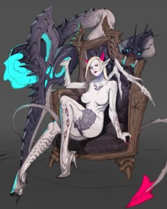 Rating: Questionable Score: 16 Tags: heels horns monster_girl nipples pantsu pointy_ears tagme tail thighhighs topless weapon wings User: Radioactive