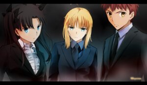 Rating: Safe Score: 34 Tags: business_suit emiya_shirou fate/stay_night fate/stay_night_unlimited_blade_works fate/zero magicians saber signed toosaka_rin User: sylver650
