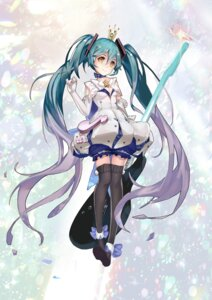 Rating: Safe Score: 45 Tags: guitar hatsune_miku rabbit_(tukenitian) thighhighs vocaloid User: Mr_GT