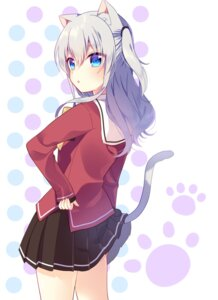 Rating: Safe Score: 66 Tags: animal_ears charlotte mafuyu_(chibi21) nekomimi seifuku tail tomori_nao User: charunetra