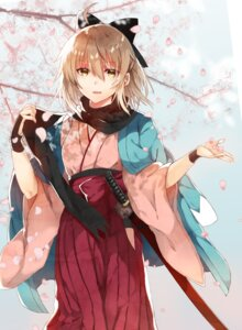 Rating: Safe Score: 42 Tags: fate/grand_order japanese_clothes nagatsuki_take sakura_saber sword User: Mr_GT