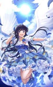 Rating: Safe Score: 9 Tags: dress kurousagi_yuu mogami_shizuka skirt_lift the_idolm@ster the_idolm@ster_million_live! wings User: Mr_GT