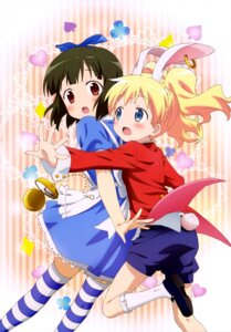 Rating: Safe Score: 50 Tags: alice_cartelet alice_in_wonderland animal_ears bunny_ears cosplay dress kin'iro_mosaic oomiya_shinobu tail thighhighs User: drop