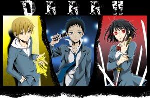 Rating: Safe Score: 12 Tags: durarara!! kida_masaomi megane ryuugamine_mikado seifuku sonohara_anri wool User: Radioactive