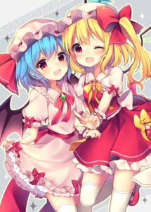 Rating: Safe Score: 43 Tags: flandre_scarlet remilia_scarlet ruhika skirt_lift thighhighs touhou wings User: Mr_GT