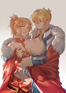 Rating: Questionable Score: 17 Tags: arturia_pendragon_(lancer) cleavage fate/apocrypha fate/grand_order fate/stay_night mordred_(fsn) no_bra underboob yorukun User: mash