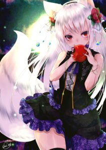 Rating: Safe Score: 76 Tags: animal_ears chita_(ketchup) fishnets gothic_lolita kitsune lolita_fashion tail User: LolitaJoy