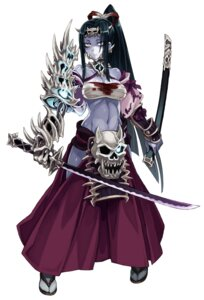 Rating: Questionable Score: 21 Tags: armor blood cleavage kenkou_cross monster_girl sarashi sword User: NotRadioactiveHonest