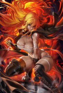 Rating: Questionable Score: 30 Tags: armor bandages naked_cape naked_ribbon rwby sakimichan tattoo thighhighs yang_xiao_long User: BattlequeenYume