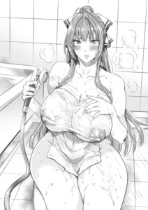 Rating: Questionable Score: 15 Tags: amagi_brilliant_park bathing fei monochrome naked nipples see_through sento_isuzu towel User: ferkunxd