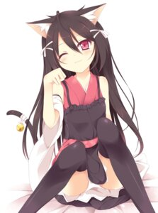 Rating: Questionable Score: 88 Tags: animal_ears nekomimi nibiiro_shizuka pantsu thighhighs User: 椎名深夏