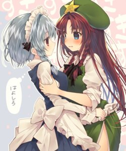 Rating: Safe Score: 34 Tags: hong_meiling izayoi_sakuya maid symmetrical_docking touhou usamata yuri User: Mr_GT