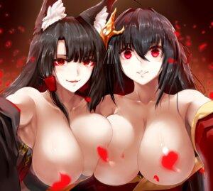 Rating: Questionable Score: 31 Tags: akagi_(azur_lane) animal_ears azur_lane breasts censored japanese_clothes kitsune minarai_tenna no_bra open_shirt symmetrical_docking taihou_(azur_lane) User: Mr_GT