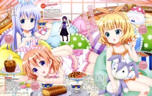 Rating: Safe Score: 43 Tags: gochuumon_wa_usagi_desu_ka? hoto_cocoa kafuu_chino kirima_sharo pajama tedeza_rize User: drop