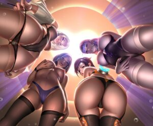 Rating: Questionable Score: 121 Tags: ashe_(overwatch) ass breast_hold breasts cameltoe leotard liang_xing nipples no_bra overwatch pantsu panty_pull pharah thighhighs thong topless tracer undressing widowmaker User: Benawi3