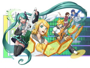 Rating: Safe Score: 9 Tags: crow_(pixiv) hatsune_miku kagamine_len kagamine_rin kaito meiko thighhighs vocaloid User: charunetra