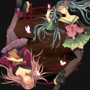 Rating: Safe Score: 21 Tags: hatsune_miku jikei megurine_luka pantyhose thighhighs vocaloid User: fairyren