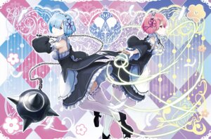 Rating: Safe Score: 30 Tags: heels kyaro maid ram_(re_zero) re_zero_kara_hajimeru_isekai_seikatsu rem_(re_zero) thighhighs weapon User: Mr_GT