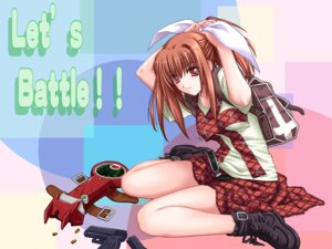 Rating: Safe Score: 11 Tags: black_cyc gun mindead_blood sakaki_yuuka shiizaki_hinaki wallpaper User: yayanipon