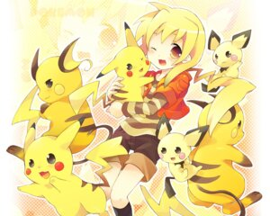 Rating: Safe Score: 43 Tags: pichu pikachu pokemon raichu tatetsu_teto wallpaper User: konstargirl