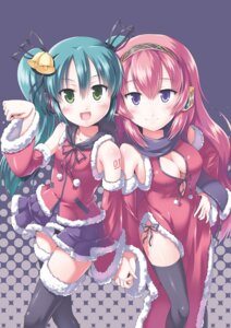 Rating: Safe Score: 24 Tags: christmas cleavage hatsune_miku megurine_luka morujii thighhighs vocaloid User: Radioactive