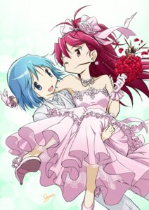 Rating: Safe Score: 31 Tags: dress miki_sayaka puella_magi_madoka_magica sakura_kyouko wedding_dress yoshinaga_masahiro User: Radioactive