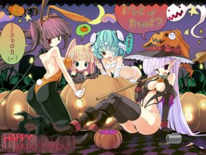 Rating: Questionable Score: 32 Tags: animal_ears bandages bunny_ears bunny_girl cleavage halloween loli pantyhose thighhighs torisan wallpaper witch User: blooregardo