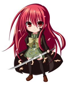 Rating: Safe Score: 22 Tags: chibi jpeg_artifacts kuena shakugan_no_shana shana sword thighhighs User: shizukane
