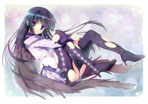 Rating: Questionable Score: 39 Tags: akemi_homura futaori_arisa pantyhose puella_magi_madoka_magica torn_clothes User: fairyren