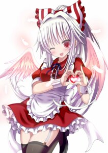 Rating: Safe Score: 39 Tags: fujiwara_no_mokou gibuchoko maid stockings thighhighs touhou wings User: Mr_GT