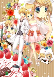 Rating: Safe Score: 12 Tags: awami_kisa dress kagamine_len kagamine_rin vocaloid wedding_dress User: fairyren