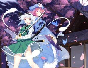 Rating: Safe Score: 27 Tags: abusoru konpaku_youmu saigyouji_yuyuko sword touhou User: Mr_GT