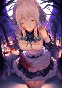 Rating: Questionable Score: 24 Tags: blood izayoi_sakuya maid tagme touhou weapon User: BattlequeenYume