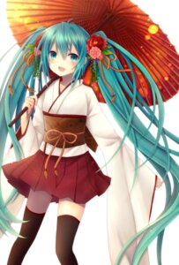Rating: Safe Score: 50 Tags: amano_sora hatsune_miku japanese_clothes thighhighs vocaloid User: 椎名深夏