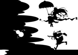 Rating: Safe Score: 9 Tags: ibuki_suika kitazinger monochrome silhouette touhou yakumo_yukari User: itsu-chan