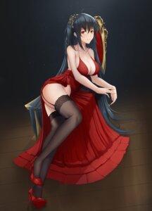 Rating: Safe Score: 68 Tags: azur_lane cleavage dress heels no_bra shiro_haoto skirt_lift stockings taihou_(azur_lane) thighhighs User: Nepcoheart