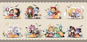 Rating: Safe Score: 21 Tags: animal_ears bandages bunny_ears chibi dress halloween horns pantyhose tagme tail thighhighs touhou wings witch User: Radioactive