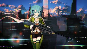 Rating: Safe Score: 46 Tags: cleavage gun gun_gale_online jan_(artist) sinon sword_art_online thighhighs User: Zenex