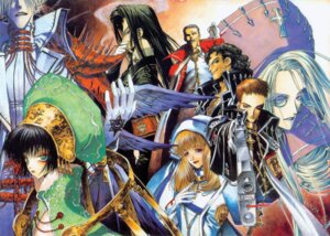 Rating: Safe Score: 5 Tags: caterina_sforza dress gun isaak_fernand_von_kampfer kate_scott leon_garcia_de_asturias megane nun seth_nightroad thores_shibamoto tres_iqus trinity_blood wings User: Radioactive