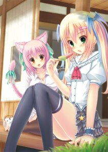 Rating: Safe Score: 41 Tags: animal_ears ichiroku nekomimi sena_(ichiroku) shia_flatpaddy tail thighhighs User: mahoru