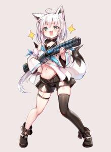 Rating: Questionable Score: 20 Tags: animal_ears garter gun hololive shirakami_fubuki sukemyon tail thighhighs User: Dreista