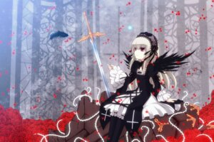 Rating: Safe Score: 32 Tags: dress pantyhose rozen_maiden suigintou sword uiu wings User: charunetra