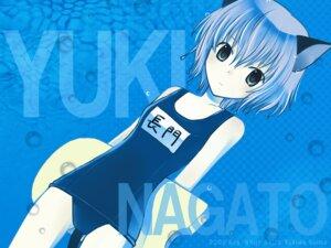 Rating: Safe Score: 7 Tags: animal_ears nagato_yuki nekomimi school_swimsuit shima_yukiwa suzumiya_haruhi_no_yuuutsu swimsuits wallpaper User: Radioactive