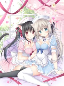 Rating: Safe Score: 64 Tags: animal_ears cleavage korie_riko nekomimi nurse skirt_lift symmetrical_docking tail thighhighs User: fairyren