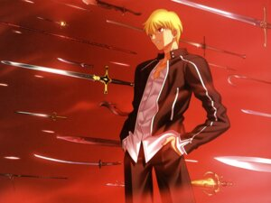 Rating: Safe Score: 7 Tags: fate/stay_night gilgamesh_(fsn) male sword takeuchi_takashi type-moon User: Wraith