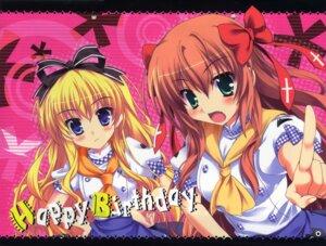 Rating: Safe Score: 27 Tags: happy_birthday maruchan mayoi_neko_overrun serizawa_fumino umenomori_chise User: 当銭神社
