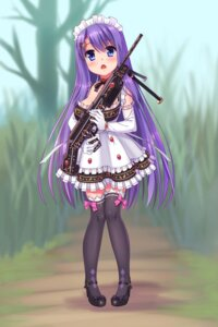 Rating: Safe Score: 43 Tags: gun heels maid nukoko_(akumagansyakudairi) thighhighs User: Mr_GT