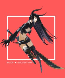 Rating: Safe Score: 30 Tags: black_gold_saw black_rock_shooter cleavage justminor sword thighhighs vocaloid User: echidna_vita