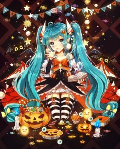 Rating: Safe Score: 65 Tags: dangmill dress halloween hatsune_miku stockings thighhighs vocaloid wings User: KazukiNanako